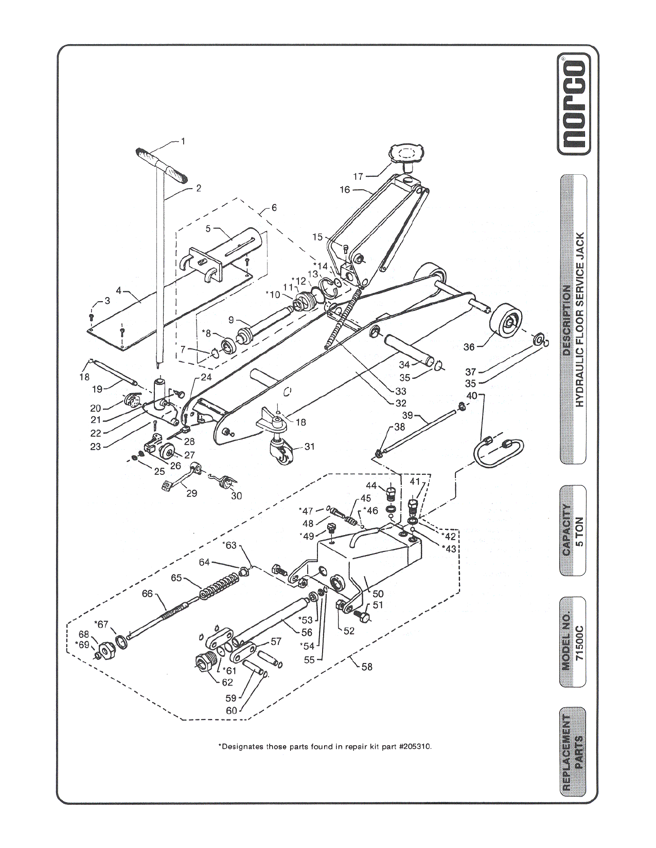 Norco 71500c Breakdown Ton Hydraulic Floor Jack Parts Diagram